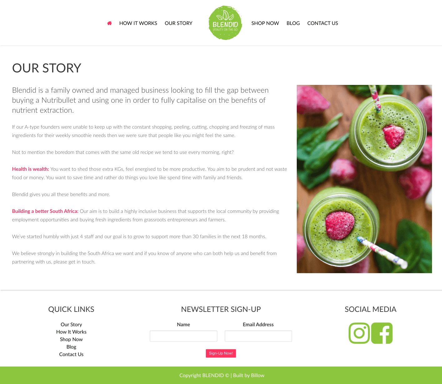 Blendid website by Billow