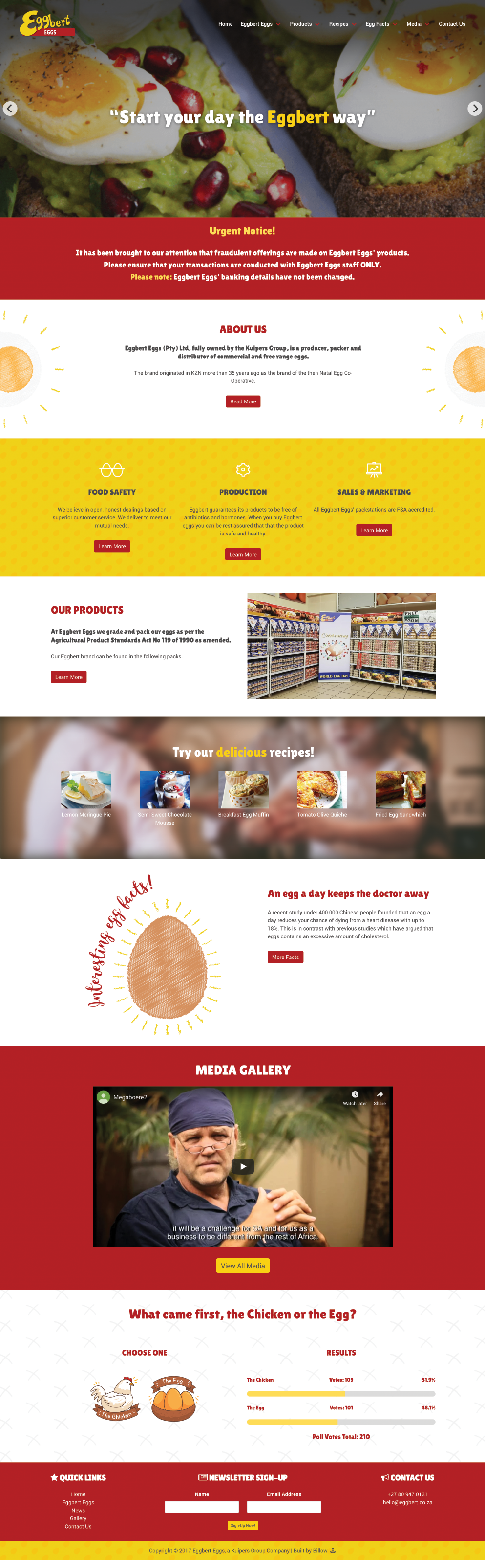 Eggbert Eggs website by Billow
