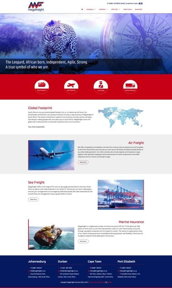 Megafreight website by Billow