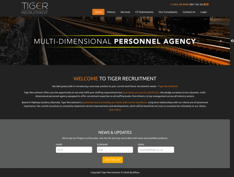 Tiger Recruitment website by Billow